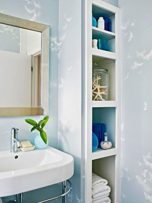 Remodeled bathroom with storage